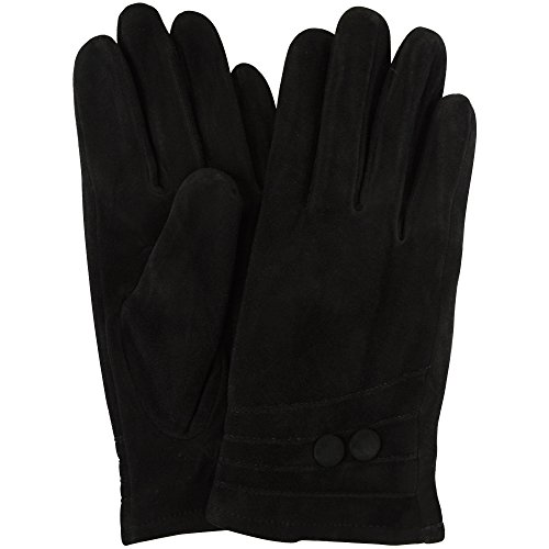 Ladies Suede Gloves with Fleece Lining and Two Button Design - Black - Large (7.5