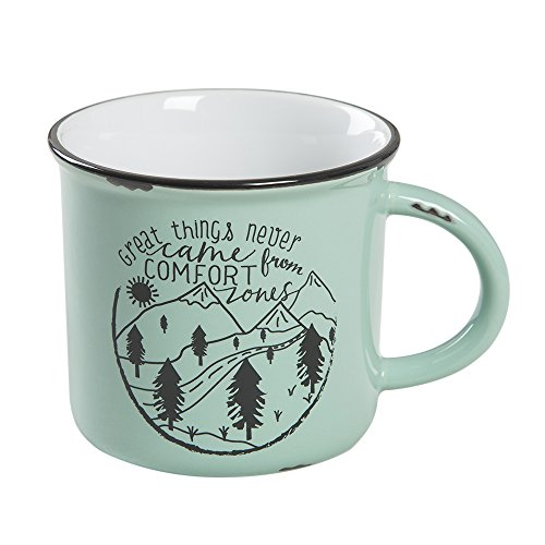 Ceramic Campfire Mug - Natural Life Ceramic Camp Mug - Large, 16 oz, Cute Camping Cup With Handle for Your Coffee, Tea, Soup, Oatmeal, More (Great Things)