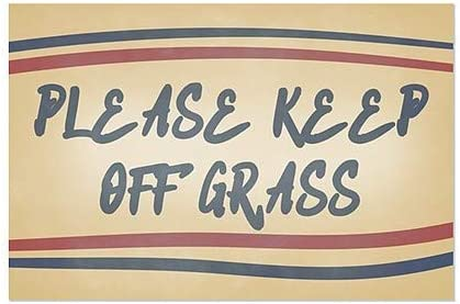 Nostalgia Stripes Window Cling Please Keep Off Grass 5-Pack CGSignLab 27x18