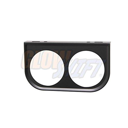 GlowShift Universal Black Dual Gauge Mounting Bracket Pod - Fits Any Make/Model - Mounts (2) 2-1/16