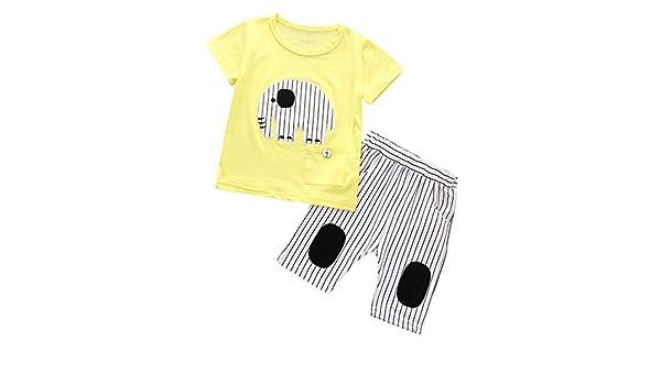 FELZ Ropa Bebe Niño Verano Recién Nacido 6 Meses a 4 años Camiseta de Manga Corta con Estampado de Elefantes a Rayas y Pantalones a Rayas Conjunto de ropa/2pc Original Ropa de