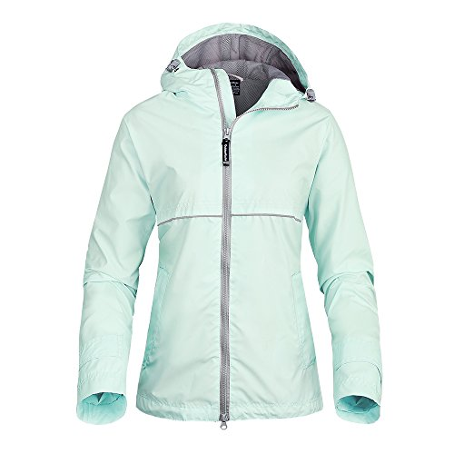 OutdoorMaster Womens' Rain Jacket - with Waterproof Hood & Reflective Stripes (Aqua,XL) (Ninja Body Suits Armor)