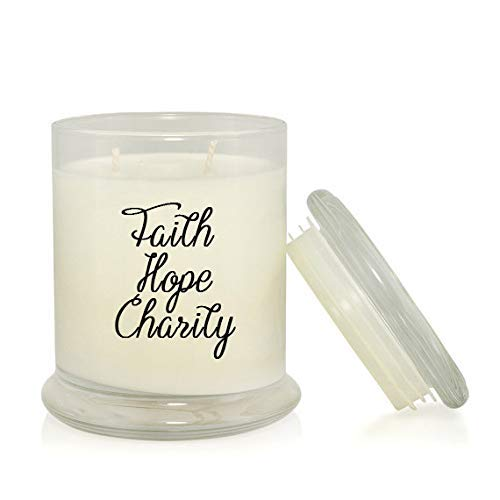 Faith Hope Charity 8.5 oz. Soy Candle - Inspirational Bible Quotes - Sandalwood Vanilla Scent