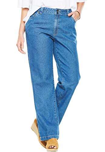 Plus Wide Leg Jeans (Women's Plus Size Tall Wide Leg 100 Cotton Jean Medium Stonewash,18 T)