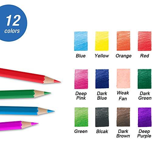 12 Set matite Colorate con Scatola di Metallo, Set di matite Colorate a Cuore Morbido per Libri da colorare Disegno Schizzo Crafting