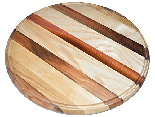 - Pizza Stone, Cherry Wood Cutting Board For Kitchen with Juice Groove, Cheese Platter (Ø12 inch)