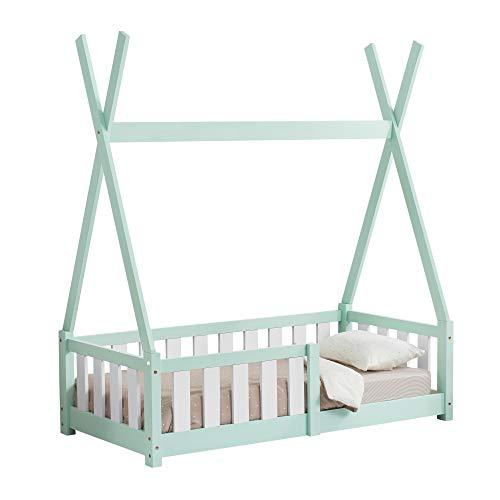 [en casa] Cama para ninos pequenos Cama Infantil 140x70cm Estructura Tipi de Madera Pino con reja de Seguridad Color Verde Menta
