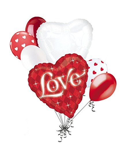 7 pc I Love You Red Diamonds Heart Valentines Day Balloon Bouquet Mine Hug Kiss Sweetest Day Balloon Bouquet