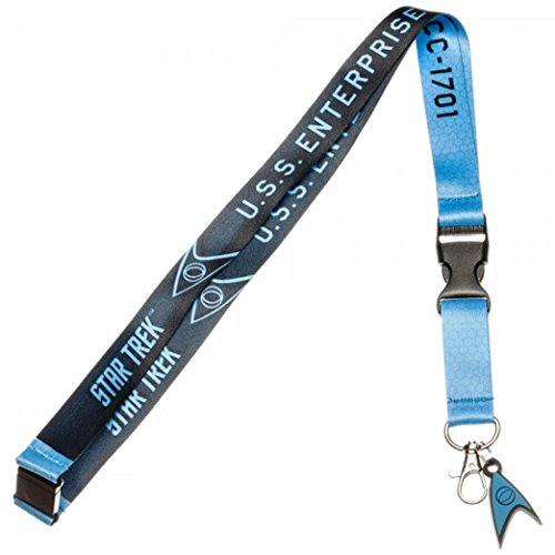 Star Trek Blue Science Enterprise Lanyard w/ID Holder & Charm Keychain
