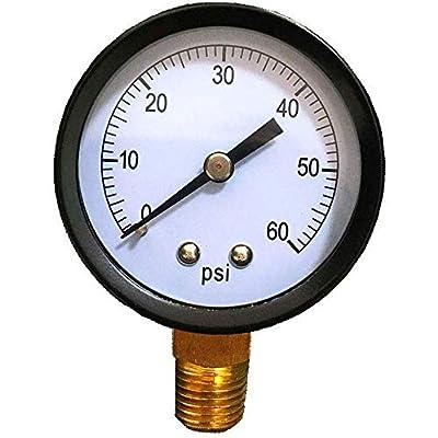 """YHAK Pool Filter Pressure Gauge 0-60 Psi, 2"""" Dial, Bottom Mount 1/4"""",Spa and Pool Water Pressure Gauge: Garden & Outdoor"""