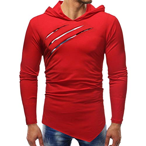 YOcheerful Men Hoody Hood Zip Sweatshirt Sport Shirt Tee Top Sports Running Gym (B-Red,M)