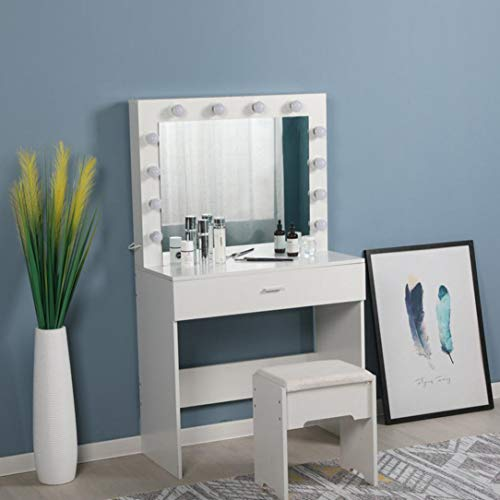 Vanity Set with Lighted Mirror, Makeup Dressing Table with 12 Led Dimmable Bulbs, Makeup Table with Large Drawers and…