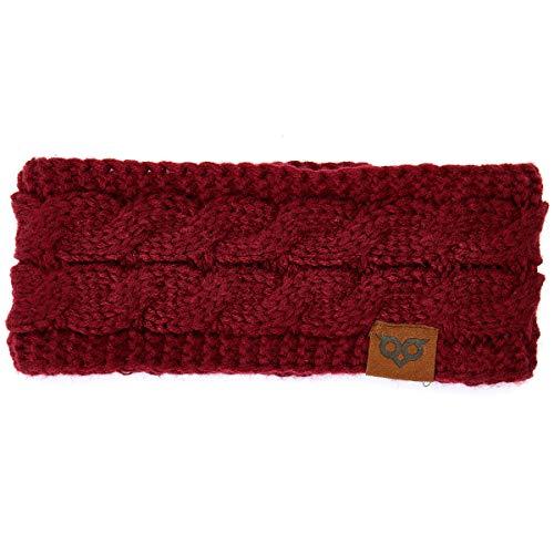 YOOWL Winter Beanie Headwrap Hat CapFashion Stretch Twisted Cable Knit Fuzzy Lined Ear Warmer Headband Women (One Size, Maroon)