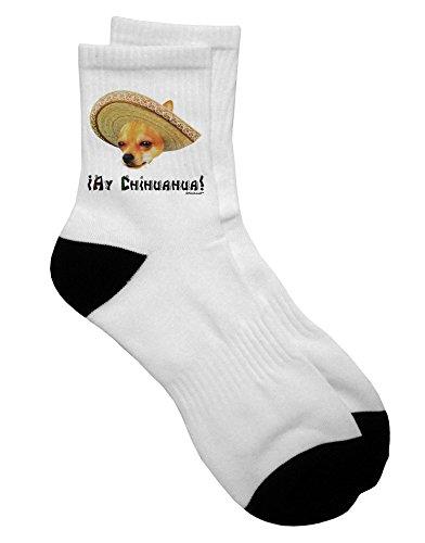 TooLoud Chihuahua Dog with Sombrero - Ay Chihuahua Adult Short Socks Ladies 6-9 or Mens 6-8
