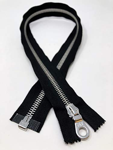RiRi 27.5 Inch Metal Zipper Black Tape Nickel Teeth 8MM Open Bottom Separating for Jackets, Coats, Sportswear, Outerwear, Leather, Clothing, Accessories and More! ()