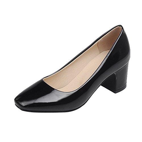 Charm Foot Womens Square Toe Soild Color Chunky Heel Pumps Black U6vqg