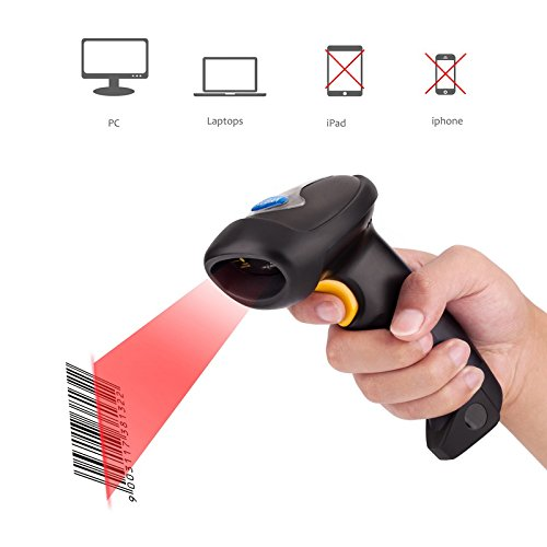 Ruban 2.4GHz Wireless USB Automatic Laser Barcode Scanner Handheld Bar-code Reader (2.4G Wireless / USB 2.0 Wired) Rechargeable Bar Code Scanner,Black