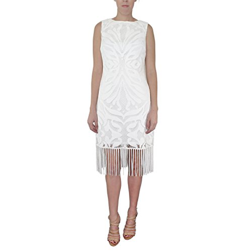 Julia Jordan Womens Sleeveless Knit Fringe Dress Ivory 12 by Julia Jordan