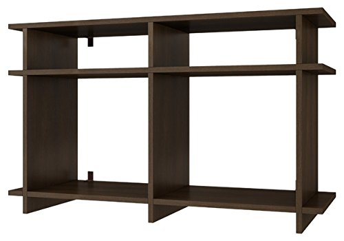 Manhattan Comfort Wellington Collection Modern Open Shelved Living Room Wall Mounted or Free Standing TV Stand, Tobacco (Wall Shelved)