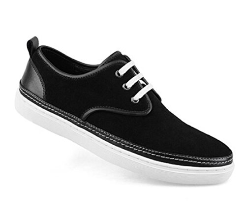 Happyshop(TM) Mens Suede Leather Lace-up Loafers Flats Driving Shoes Comfort Slip-on Board Shoes Size 38-44 Black