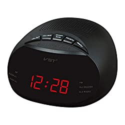 Digital Alarm Clock - Radio Alarm Clock - VST ST-8 EU Led Digital Radio Alarm Clock With Blue Red Green Backlight Two Groups Alarm Clock AM FM Clock Radio Table - Red ( Digital Alarm Clock Radio )