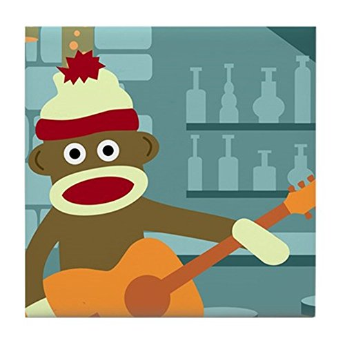 - CafePress - Sock Monkey Acoustic Guitar Player Tile Coaster - Tile Coaster, Drink Coaster, Small Trivet