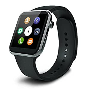 SUPVIN® Smart Watch Bluetooth Smartwatch GSM NFC G-sensor 0.3mp Camera Pedometer Sedentary Reminder SYNC Watch For IOS and Android (Black)