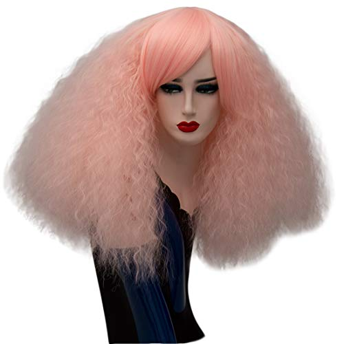 ELIM Short Fluffy Curly Wigs Pink Cosplay Wigs Wavy Halloween Costume Wig Synthetic Hair Oblique Bangs for Women with Wig Cap Z079I for $<!--$18.99-->