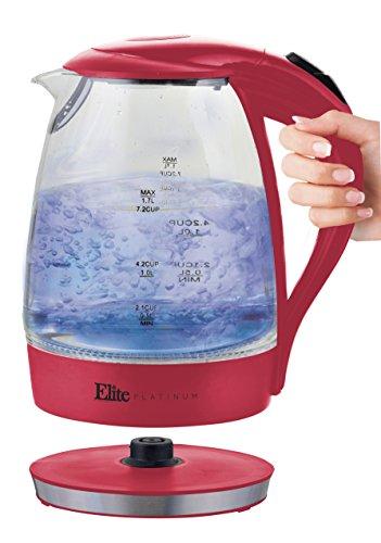 Maxi-Matic EKT-300R Elite Platinum 1.7 L Cordless Electric Tea Kettle, Red