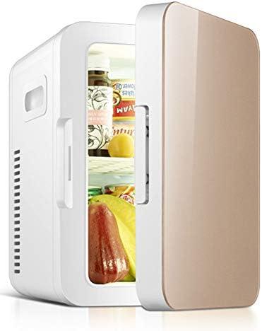 SXYY-6L Kleinwagen Kühlschrank, Mini Geschenk Kühlschrank, Kosmetische Muttermilchkühlung, 2 in 1 Reisekühlschrank Mit Kühl- Und Heizfunktion, Für DC 12V/AC 220V,Gold