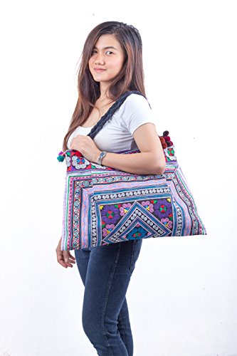 Hmong Multi Tribes Size Tote Hill Bag Large Embroidered Changnoi Unique Fabric q5vxAnZ6