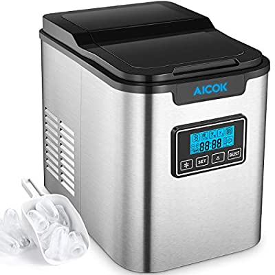 Aicok Portable Ice Maker, Countertop Ice Machine With 2 Qt. Water Tank, Makes 26 lbs of Ice per 24 hours, 9 Ice Cubes in 6-10 Minutes, Self-clean, LCD Display, Ice Scoop, Stainless Steel