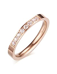 Stainless Steel CZ Cubic Zirconia Crystal Eternity Wedding Anniversary Ring for Women,Rose Gold