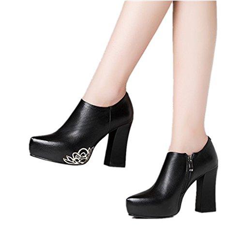 DoraTasia Pointed Big Size Elegant Pointed DoraTasia Toe Zipper Hoof Heel Flower Sequined Genuine Leather Black Women Pumps Shoes B073XF3K22 Shoes ba6637