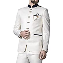 INMONARCH Mens White 4 Pc Jodhpuri Suit Impressive 6 Button JO365