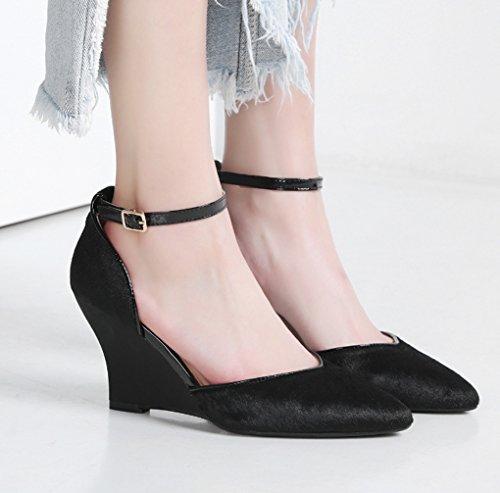 Hauts Été HJHY Couleur à 37 Métal Noir Chaussures et Talons Femmes Chaussures Printemps Noir en pour Taille Confortable LGLFRXZ Europe et Amérique Sandales xIqdvnvEUw