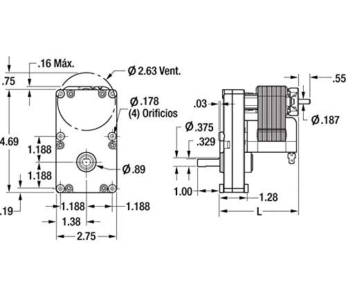 Dayton 1LNG2 AC Gear Motor Open 1 RPM 115V