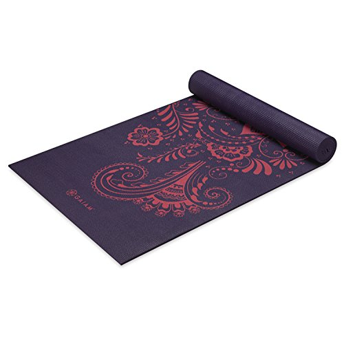Gaiam Premium Print Yoga Mat, Aubergine Swirl, 6mm