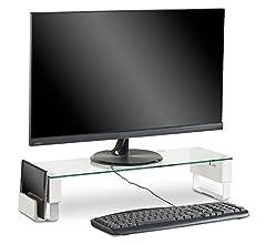 Soporte Grande Alzador de Monitor de Cristal Curvo VonHaus para Ordenadores, Portátiles y TVs - 70 x 24cm: Amazon.es: Informática