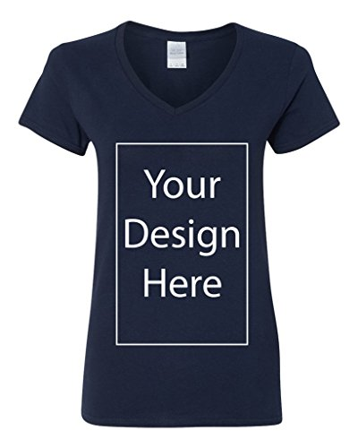 V-Neck Ladies Add Your Own Text Design Custom Personalized T-Shirt Tee (Medium, Navy Blue)