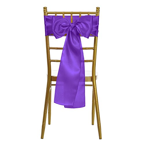 Purple Ribbon Bow (VEEYOO 10 Pieces 6x108 inch Satin Chair Sash Ribbon Bows Cover for Wedding Party Dining Use, Purple)