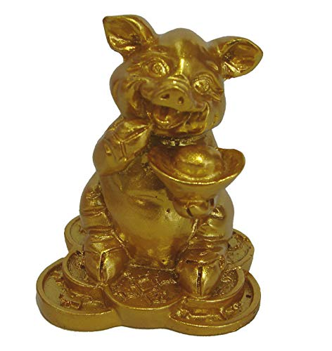 (Feng Shui Import Small Golden Pig Statue Holding Ingot for Chinese Lunar Year of Pig)