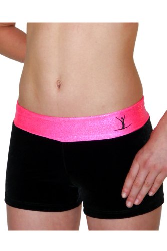 TumbleWear Girl's Hot Pink/Black Rollover Shorts MD