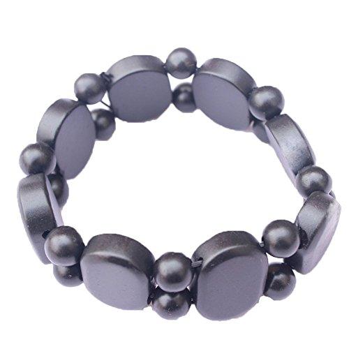 Wintefei Natural Bian Stone Bracelet Carved Oval Jewelry Women Men Bianshi Bangle Gift - Black