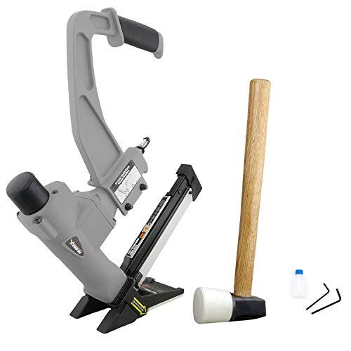 "NuMax SFL618 Pneumatic 3-in-1 15.5-Gauge and 16-Gauge 2"" Flooring Nailer and Stapler with White Rubber Mallet Ergonomic and Lightweight Nail Gun for T-Cleats, L-Cleats, and Staples"