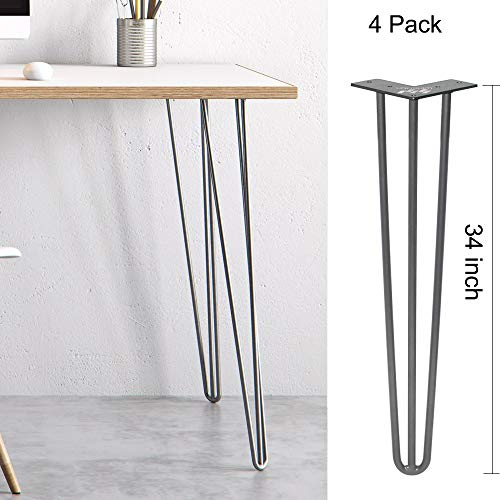WINSOON Industrial Iron Hairpin Table Legs 34 Inch Set of 4 Pack Metal Bench Legs for Furniture feet Wooden Desk Legs Hair Pin Design (34 Inch 3-Rod Gray)