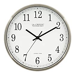 La Crosse Technology WT-3126B 12-Inch Atomic Analog Wall Clock, Aluminum