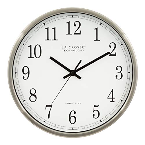 - La Crosse Technology WT-3126B 12-Inch Atomic Analog Wall Clock, Aluminum