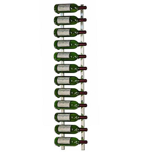 VintageView - WS41-P - 12 Bottle Wall Mounted Metal Hanging Wine Rack - 4 Foot (Brushed Nickel) by Vintage View