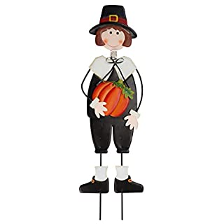 Miles Kimball Pilgrim Boy Metal Lawn Stake by Maple Lane Creations, Thanksgiving Yard Décor